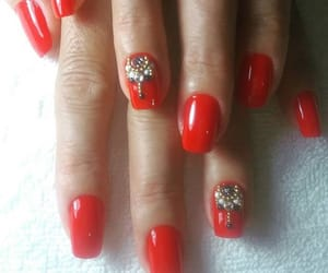 nails, acrylic nails, and red image
