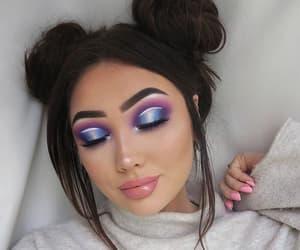 eyeshadow, blue, and eyebrows image