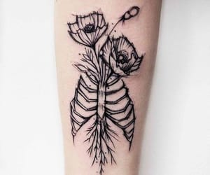 flowers, skeleton, and rib cage image