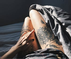 girl, legs, and tattoo image