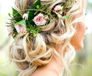 hairstyle, beauty, and flowers image