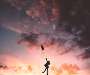 sky, sunset, and balloons image