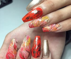 gold, pretty, and nails image