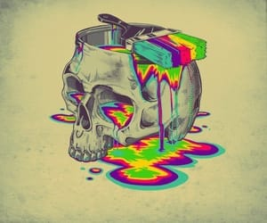 art, skull, and colors image