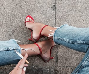 chic, denim, and footwear image