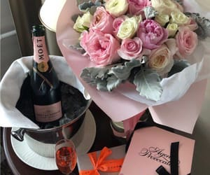 champagne, flowers, and luxury image