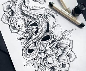 dragon, flowers, and girl image