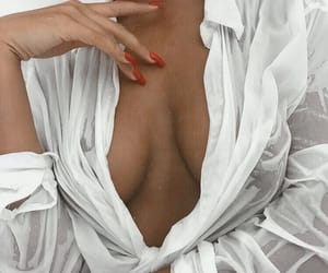 blouse, red nails, and white image