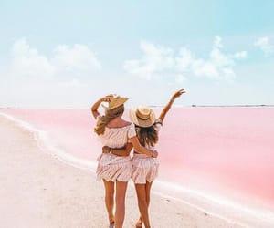 girls, lake, and pink image