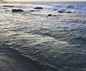 beach, light, and sea image