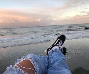 beach, vans, and sky image