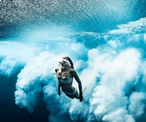 blue, girl, and surf image