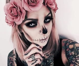 Halloween, tattoo, and make up image