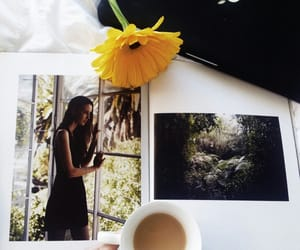 coffee, girl, and sunflower image