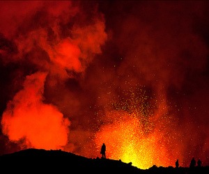 fire, red, and volcano image