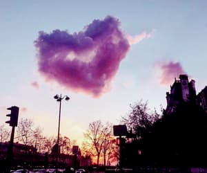 clouds, heart, and street image