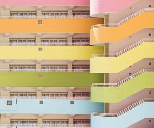 building, pastel, and staircase image