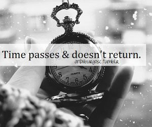 black and white, clock, and quote image