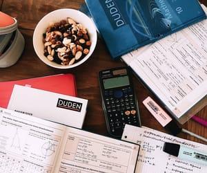 books, desk, and math image