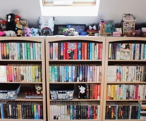 bookshelves, home decor, and rainbow books image