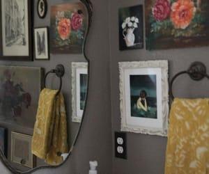 vintage bathroom, eclectic bathroom, and thrift shop bathroom image
