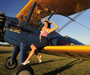 girl, stewardess, and wing image