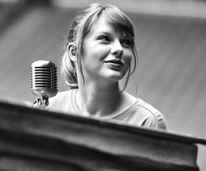 black and white, Taylor Swift, and piano image