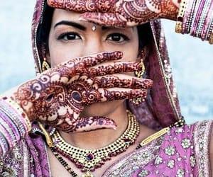 beautiful, henna, and indian girl image