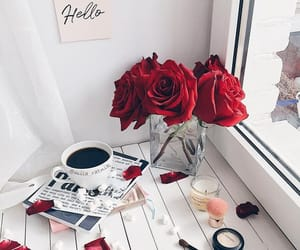coffee, makeup, and rose image