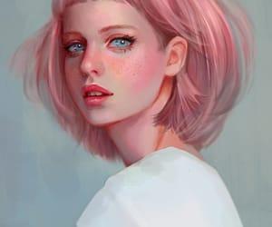 art, pink, and girl image