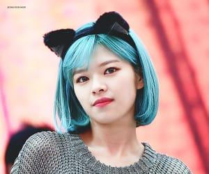 blue hair, cat ears, and jeongyeon image