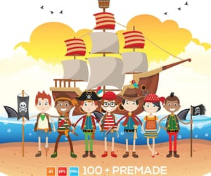 cartoon, clipart, and pirate image