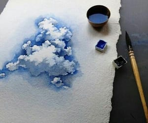art, blue, and clouds image
