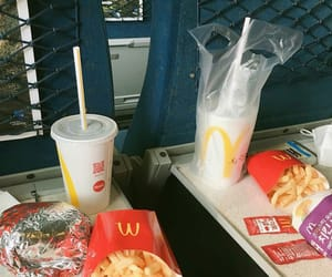burger, korea, and frenchfries image