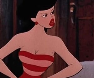 cartoon, girl, and red image