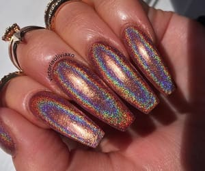 holographic, long nails, and nails image