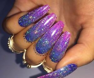 blue, long nails, and pink image