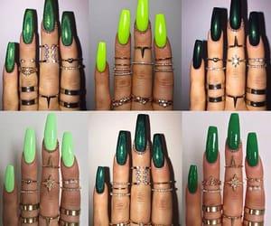 glitter, green, and long nails image