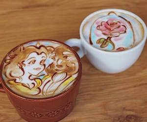 art, coffee, and beauty and the beast image