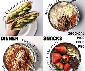 breakfast, calories, and dinner image