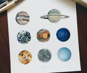 art, painting, and planets image