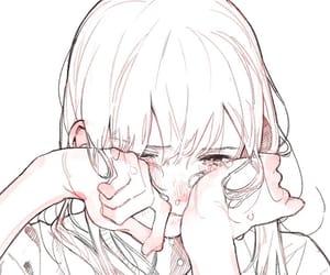 art, girl, and crying image
