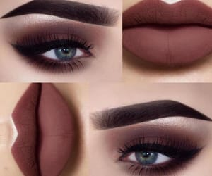 make up, blue eyes, and lips image