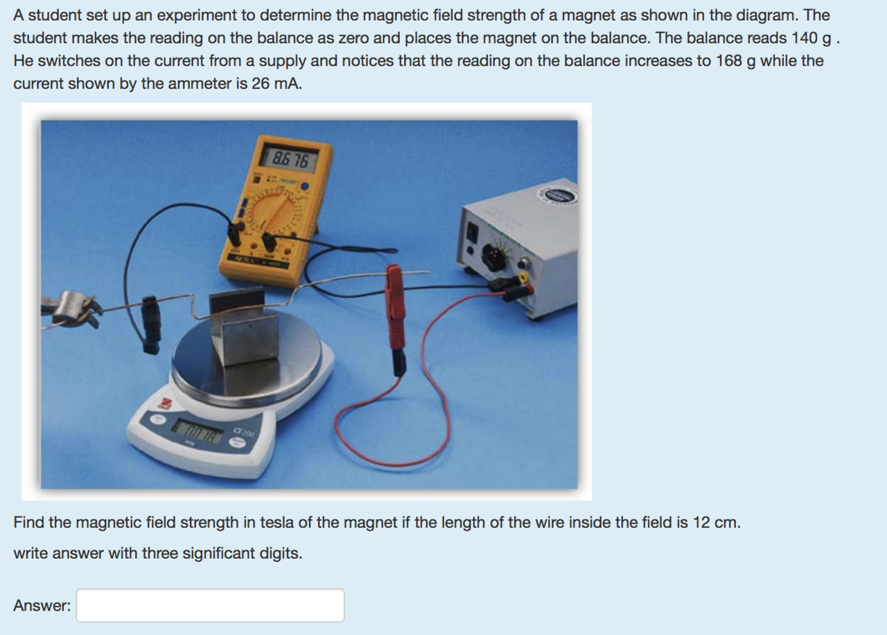 Solved: A Student Set Up An Experiment To Determine The Ma ...