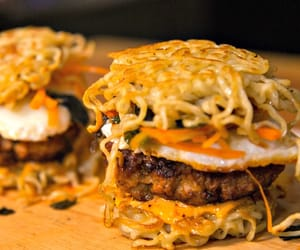 burger, ramen, and delicious image