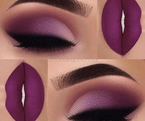 make up, purple lips, and purple shadow image