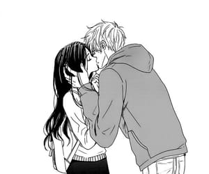 couple, manga, and black&white image