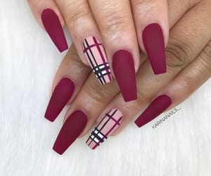 long nails, nails, and red image