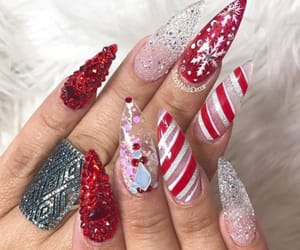 candy cane, glitter, and nails image