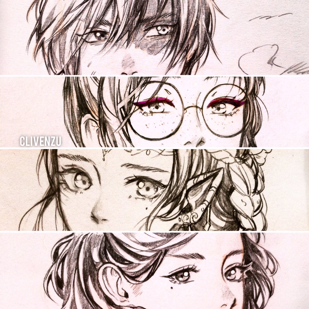 anime girl boy: manga close-up eyes collection of clivenzu